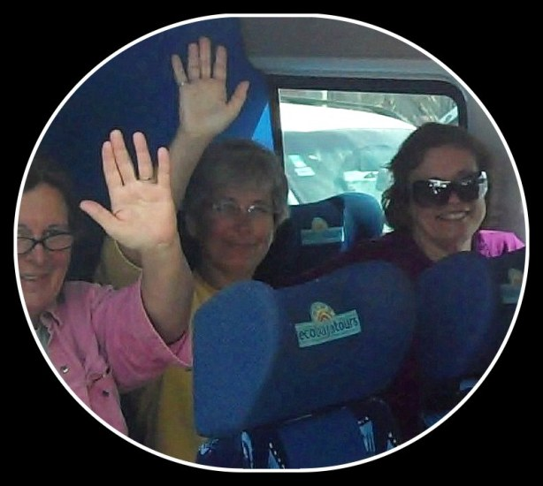 Leslie, Korie, and Susan, all aboard the shuttle to the Aeropuerto de San Jose del Cabo.