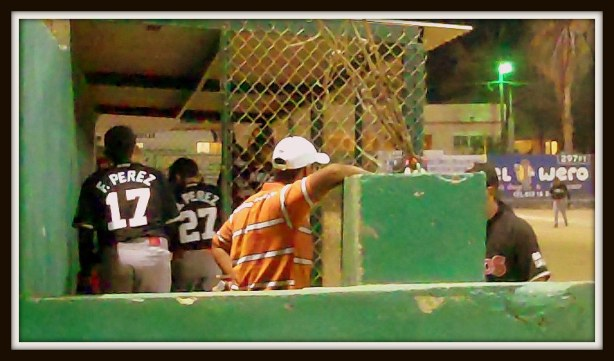 The dugout featuring the Perez boys. There was lots of socialization and interaction with the fans.