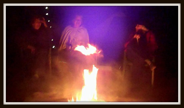 Cara, Gail and Moonstone watching the fire do tricks.